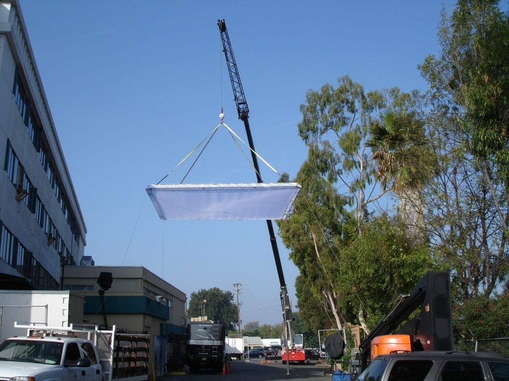 lighting boom on a crane arm