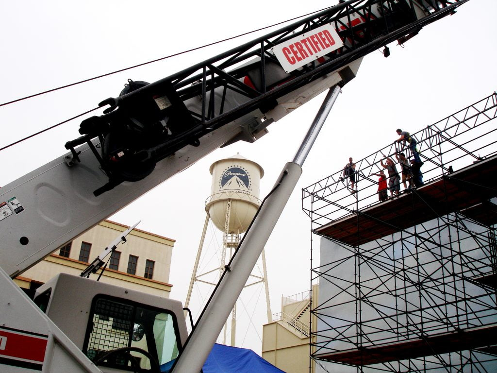 Smith Bros crane at work on the Paramount lot