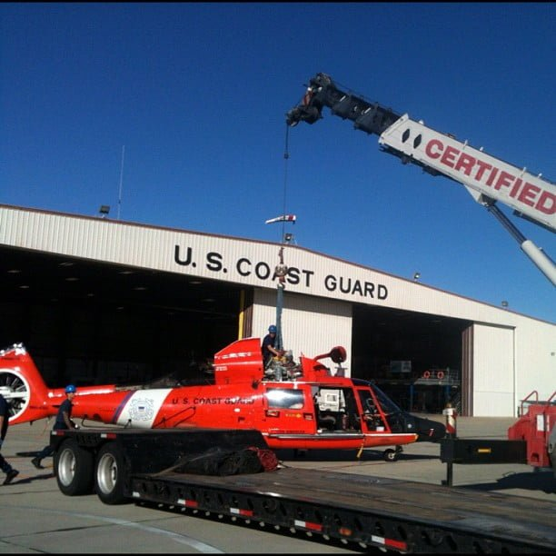 Coast Guard helicopter and crane