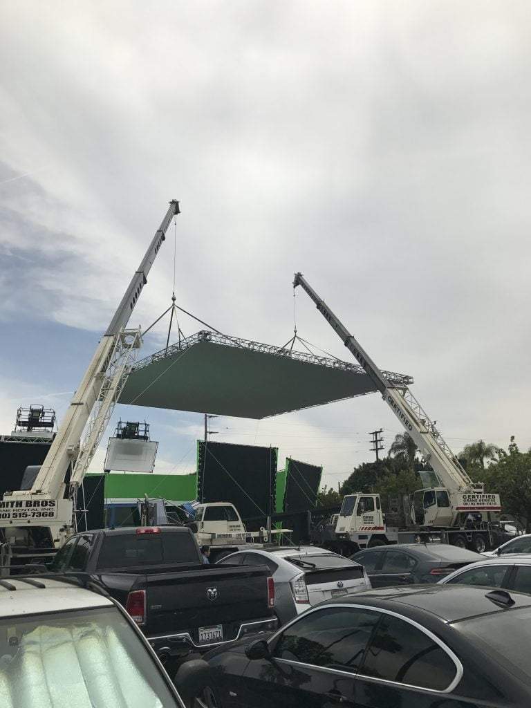 movie cranes and lighting booms