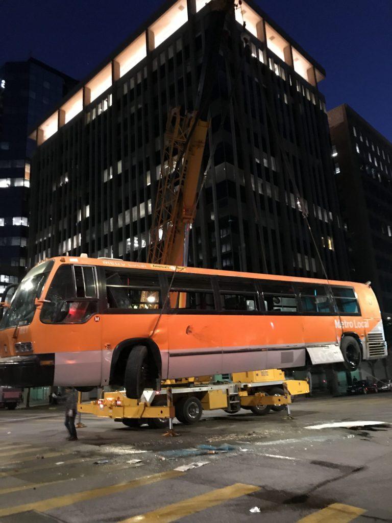 bus on a crane