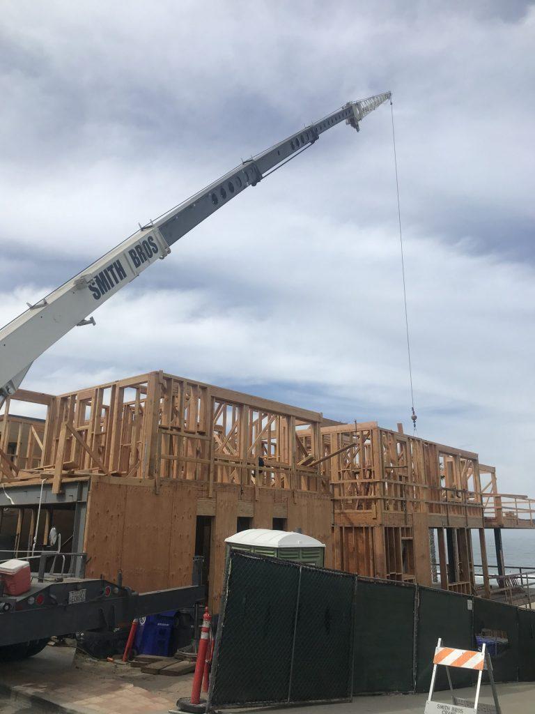 crane working near the beach