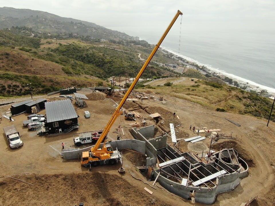 crane working on new coastal construction