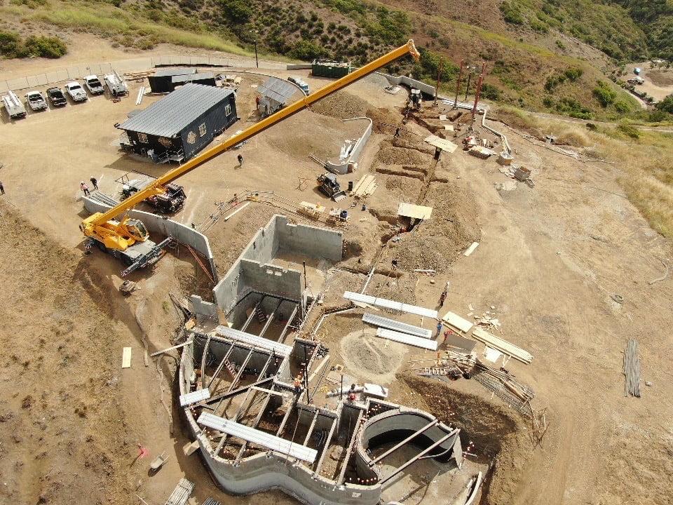 rental crane at new construction site