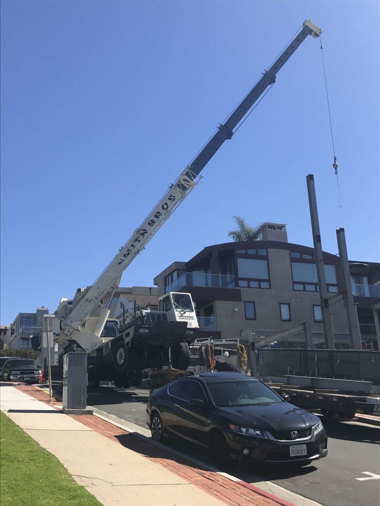 Rental Crane working on a steep hill