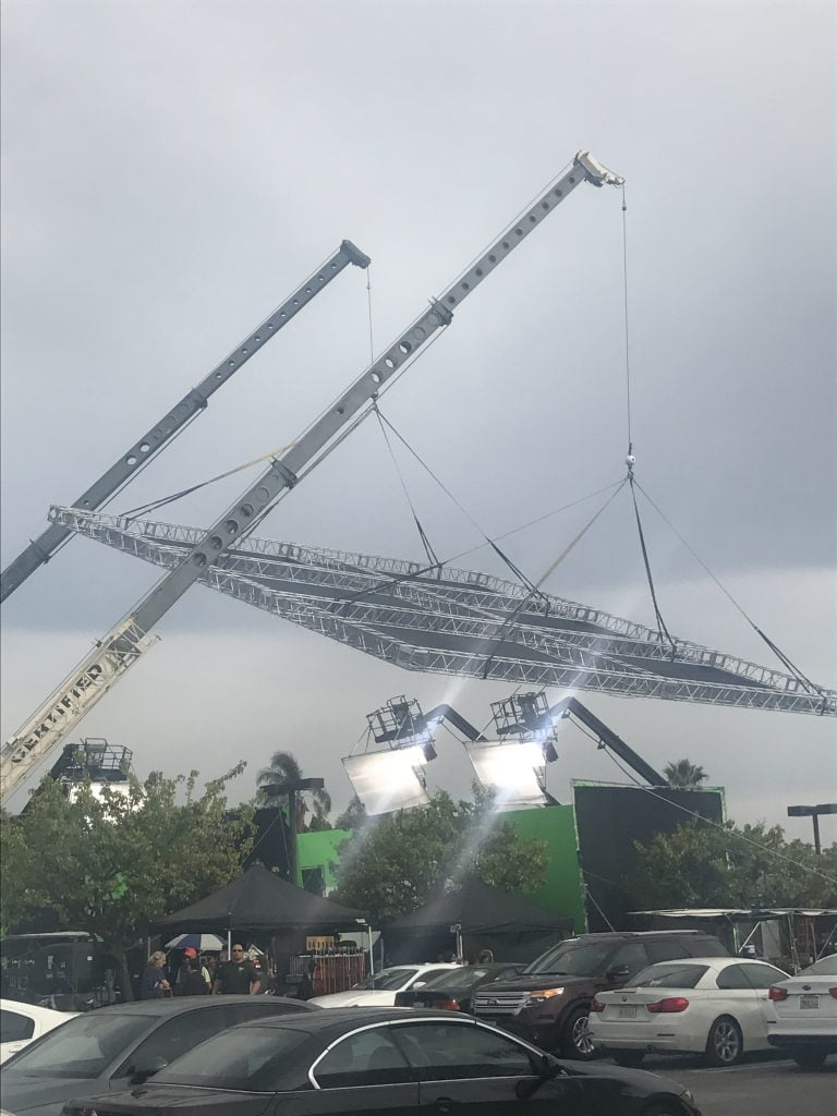 cranes with lighting booms for film