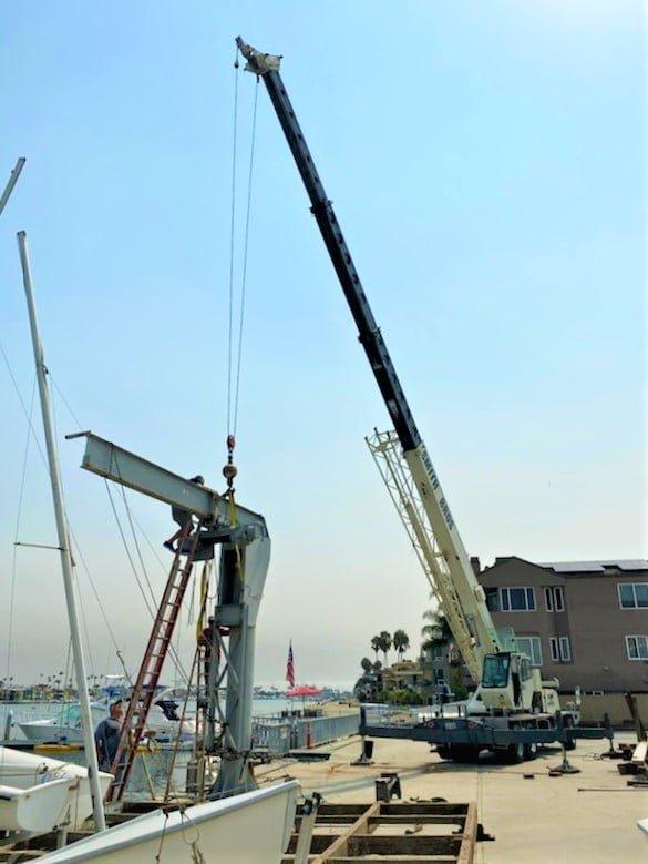 Crane working near the waterfront