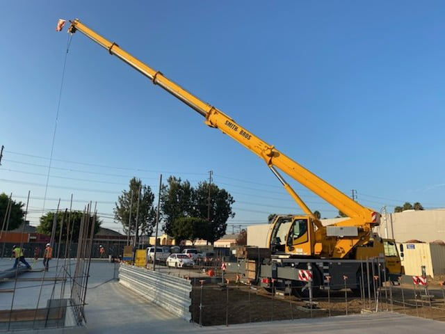 Crane at work on a concrete pour