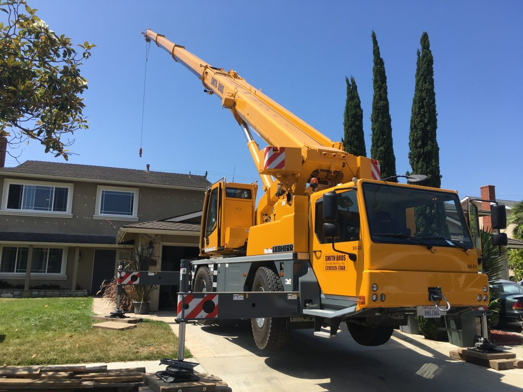 Smith Bros crane working on a new home