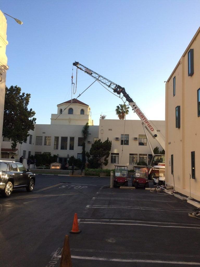 Smith Bros crane working on movie set