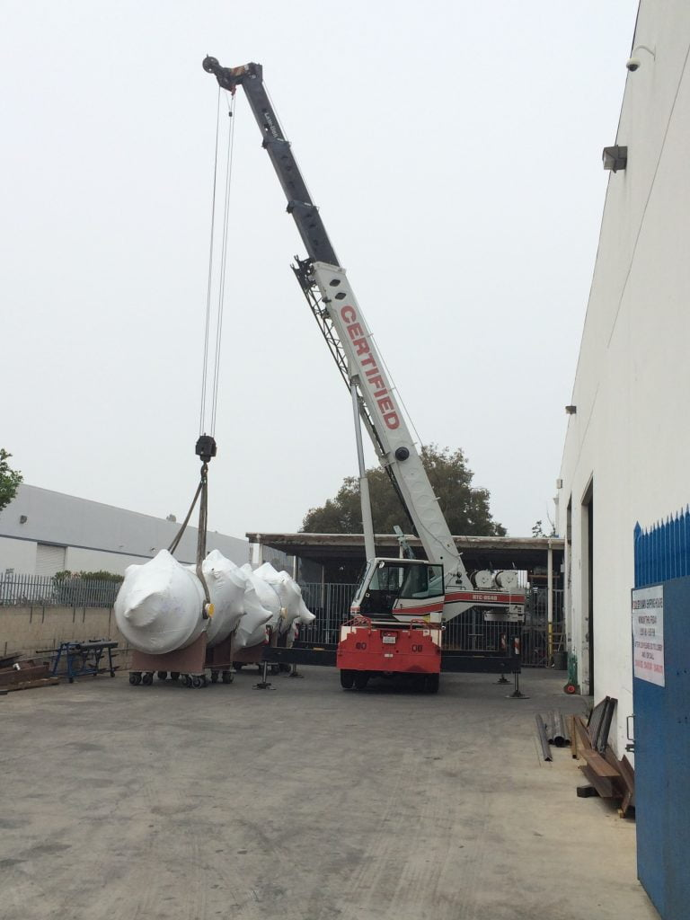 moving sensitive products by rental crane