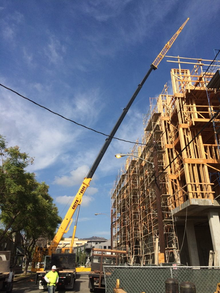 crane with an extended reach