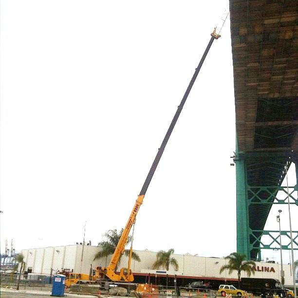 Link Belt rental crane working under the Vincent Thomas Bridge